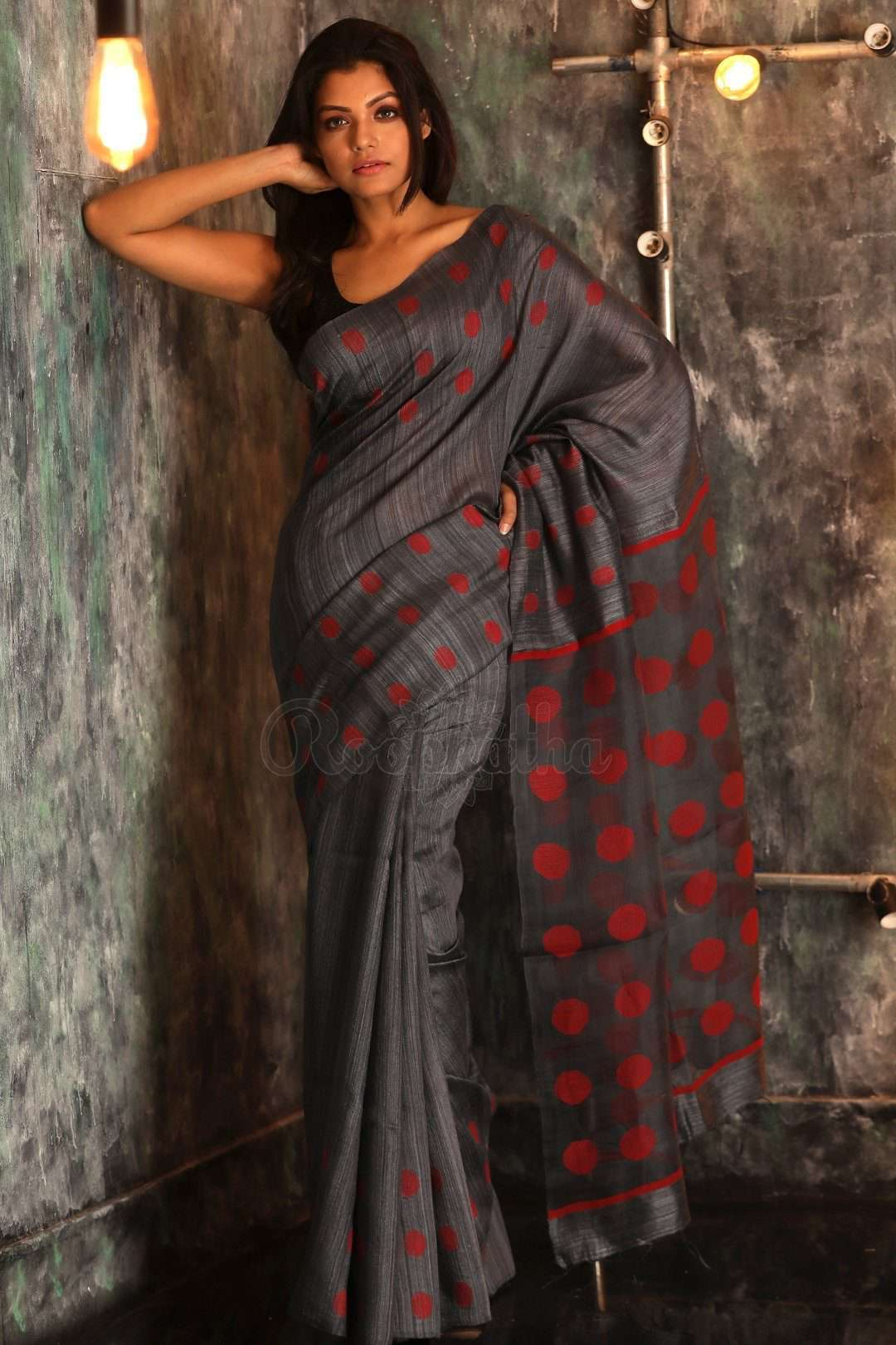 65beed91acc93 Slate Grey Matka Silk Saree With Woven Design - Roopkatha - A Story of Art