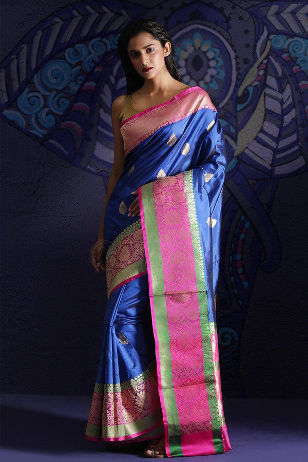 Blue Banaras Silk Saree With Zari