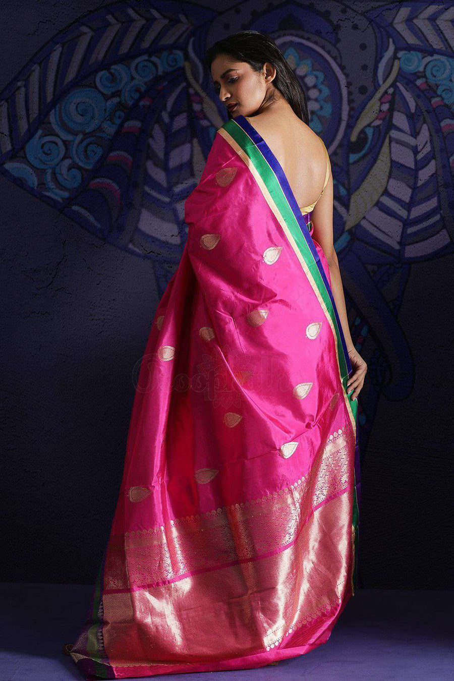 Pink Banaras Silk Saree With Zari Kriti Classics Roopkatha - A Story of Art