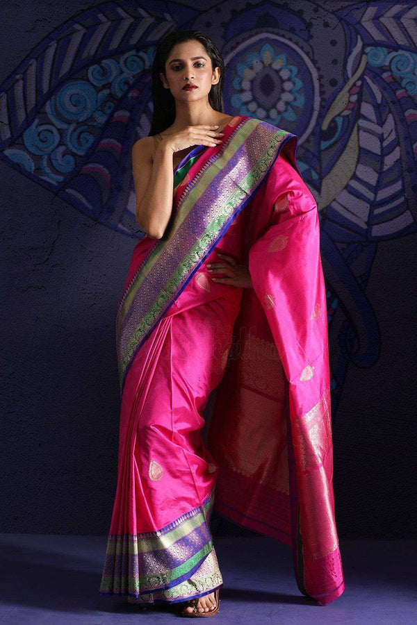 Pink Banaras Silk Saree With Zari