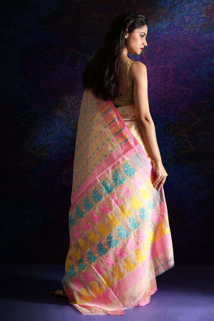 Beige Jamdani Saree With Thread Work Jamdani Weave Roopkatha - A Story of Art