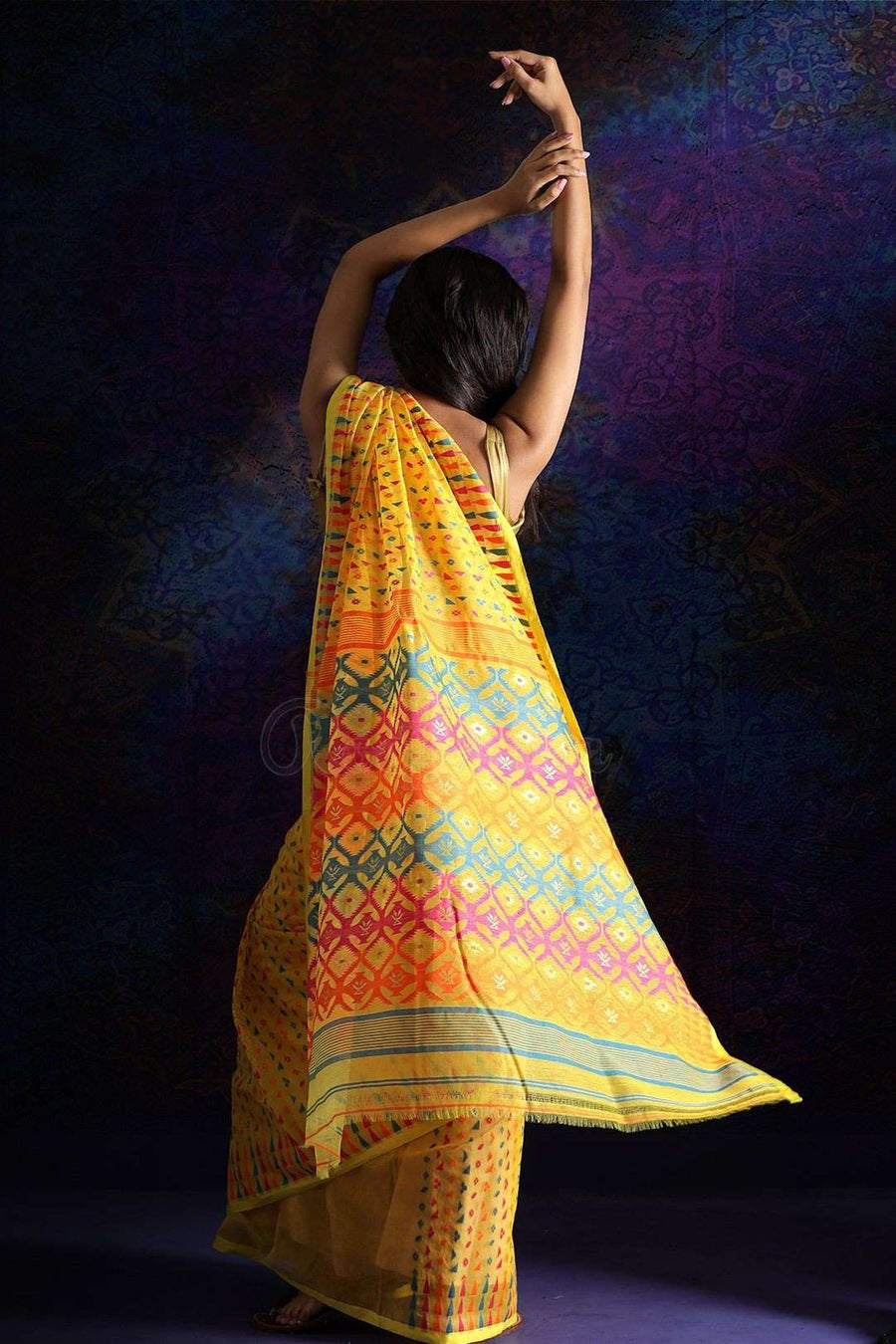 Yellow Jamdani Saree With Thread Work