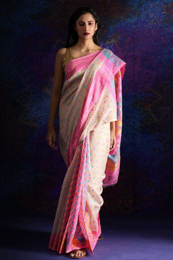 Beige Jamdani Saree With Thread Work