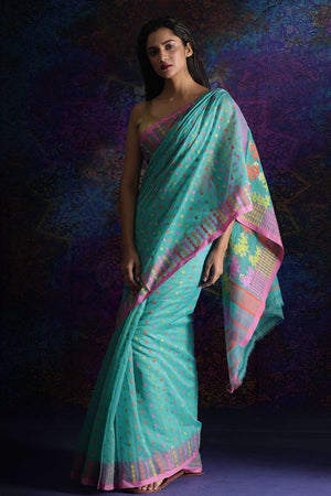 Blue Jamdani Saree With Thread Work