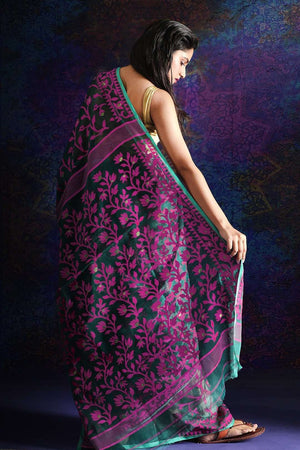 Green Jamdani Saree With Fuchsia Thread
