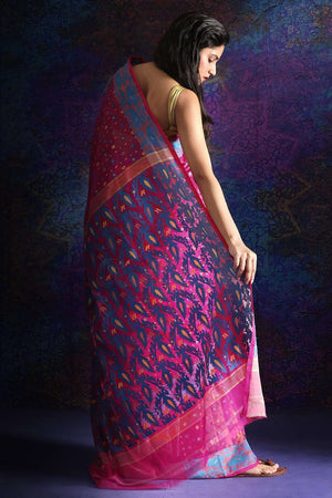 Dark Pink Jamdani Saree With Thread Weave