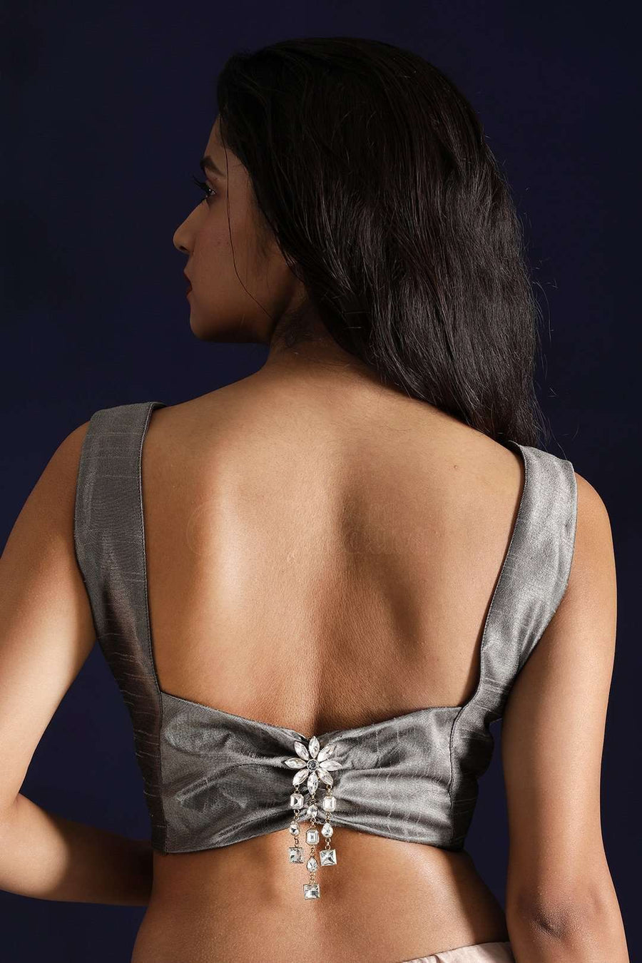Silver Dupion Blouse With Back Embellishment