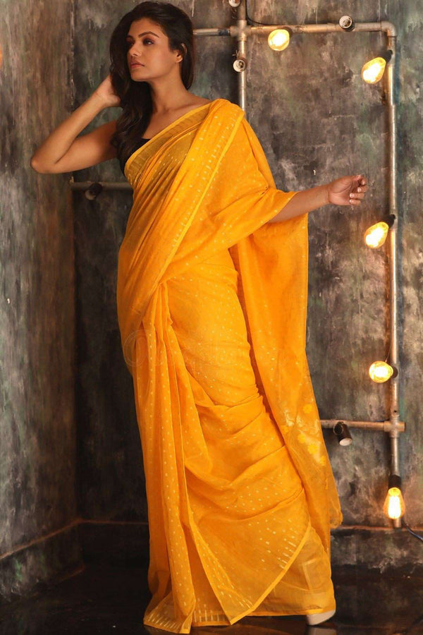 Yellow Jamdani Saree With Zari Jamdani Weave Roopkatha - A Story of Art