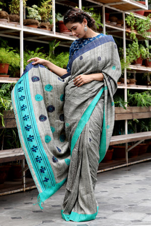 Molten Grey Cotton Gheecha Saree With Teal Border