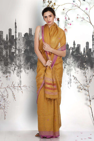 Beige Linen Saree With Woven Pallu Earthen Collection Roopkatha - A Story of Art