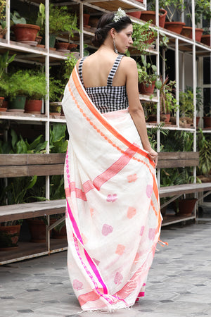 White Organic Linen saree with Woven Designs