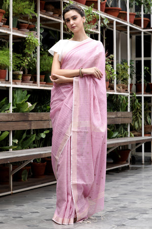 Lace Pink Cotton Silk Saree