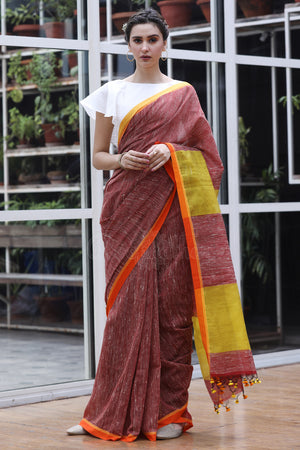 Rust Red Cotton Gheecha Saree