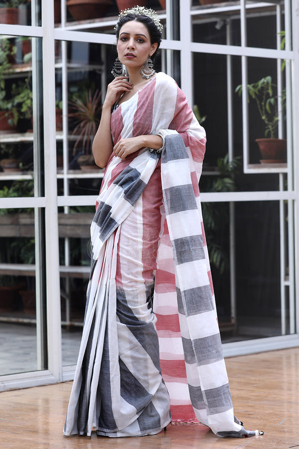 Faded Grey And Red Striped White Cotton Saree