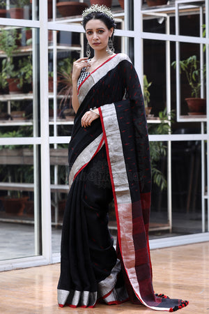 Black Linen Saree With Red Threadwork And Silver Zari Border