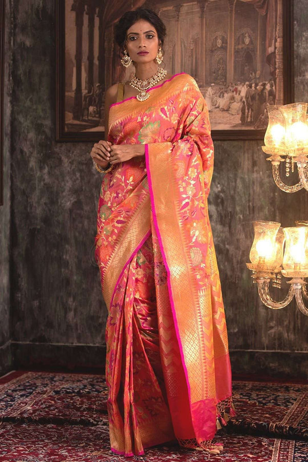 Pink Handwoven Katan Silk Saree With Zari VARANASI CHRONICLES Roopkatha - A Story of Art