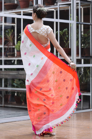 White Linen Saree with Multi Color Woven Polka