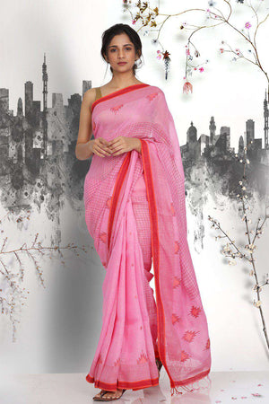 Off-White Handwoven Dupion Saree With Zari