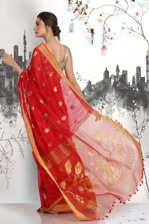 Red Blended Matka Saree With Zari