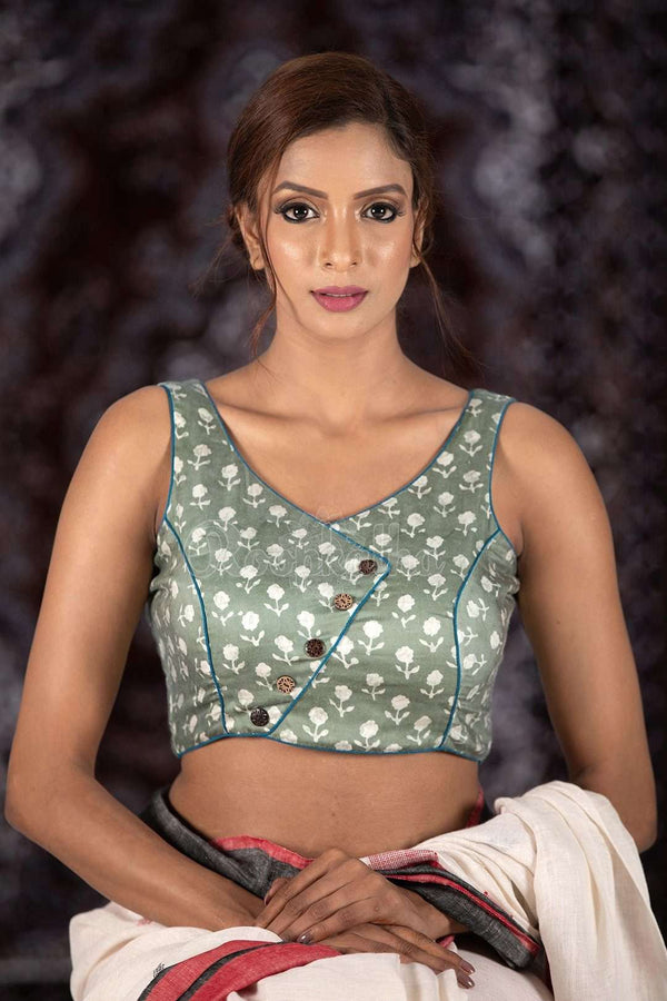 Grey Sleeveless Blouse Blouse Roopkatha - A Story of Art