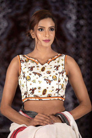 White Sleveless Printed Cotton Blouse Blouse Roopkatha - A Story of Art