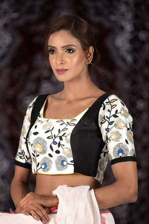Black And White Satin Printed Blouse