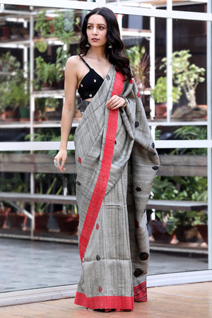 Ash Grey Cotton Gheecha Saree with Red and Black Border