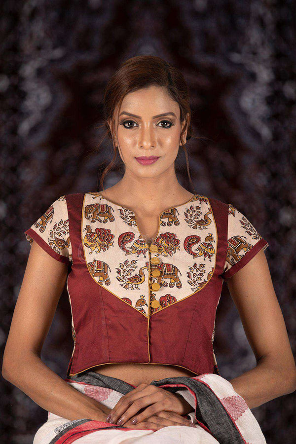 Bicolour Kalamkari Blouse With Cap Sleeve Blouse Roopkatha - A Story of Art