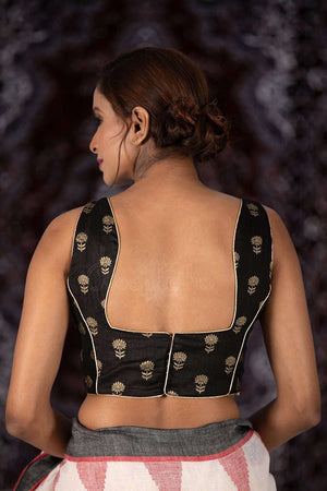 Black Silk Blouse With Floral Design