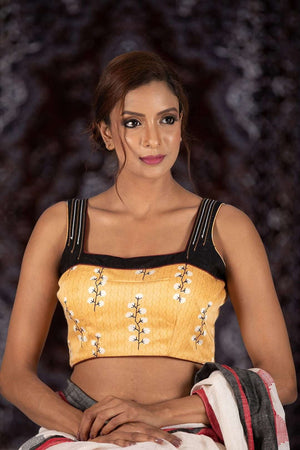 Yellow And Black Sleeveless Blouse Blouse Roopkatha - A Story of Art