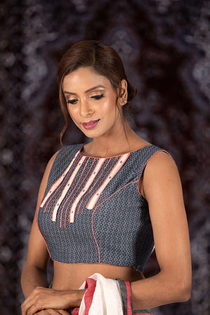 Steel Grey Blouse With Geometrical Design Blouse Roopkatha - A Story of Art