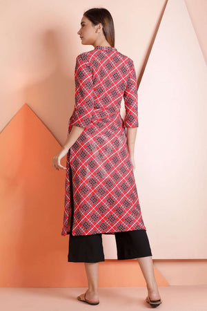 Red Checkered Kurta Rivka Roopkatha - A Story of Art