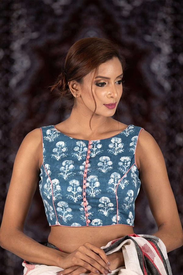 Blue Printed Sleeveless Cotton Blouse