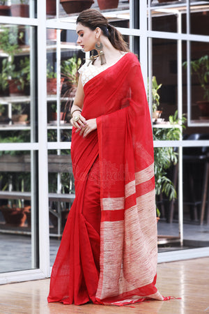 Red Mocklin Weave Blended Cotton Saree with Gheecha Pallu