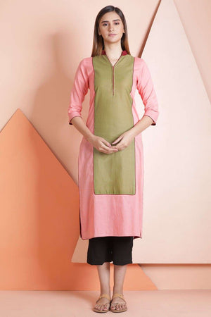 Peach & Sap Green Straight Kurta Rivka Roopkatha - A Story of Art