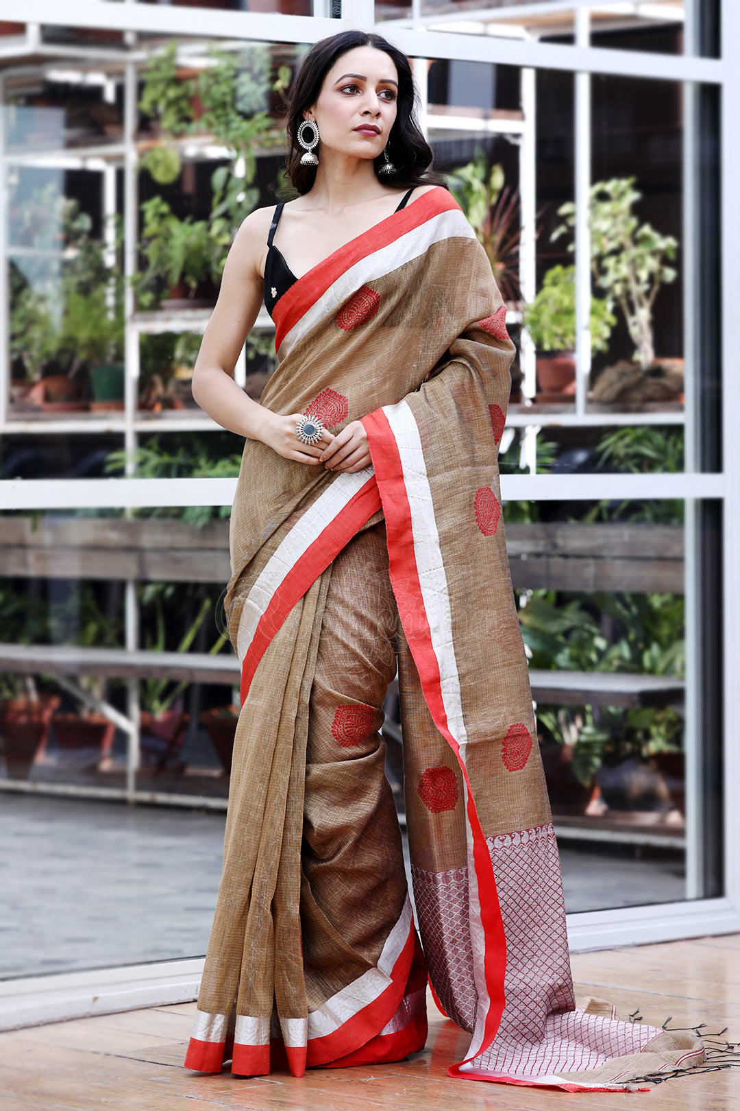 Light Elm Brown Mixed Linen Saree with Red Woven Design and