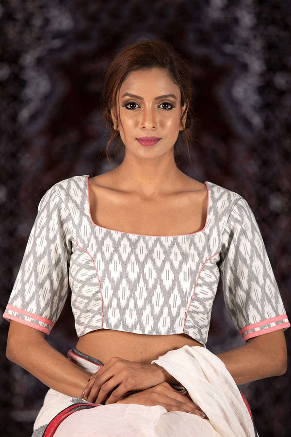 Half Sleeve Cotton Ikkat Blouse Blouse Roopkatha - A Story of Art
