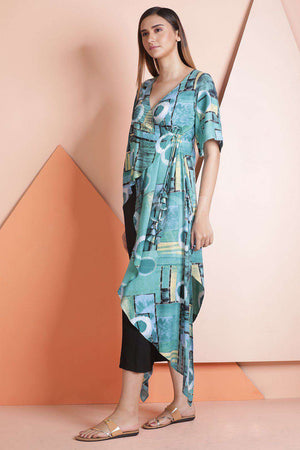 Blue Printed Wrap Kurta Rivka Roopkatha - A Story of Art