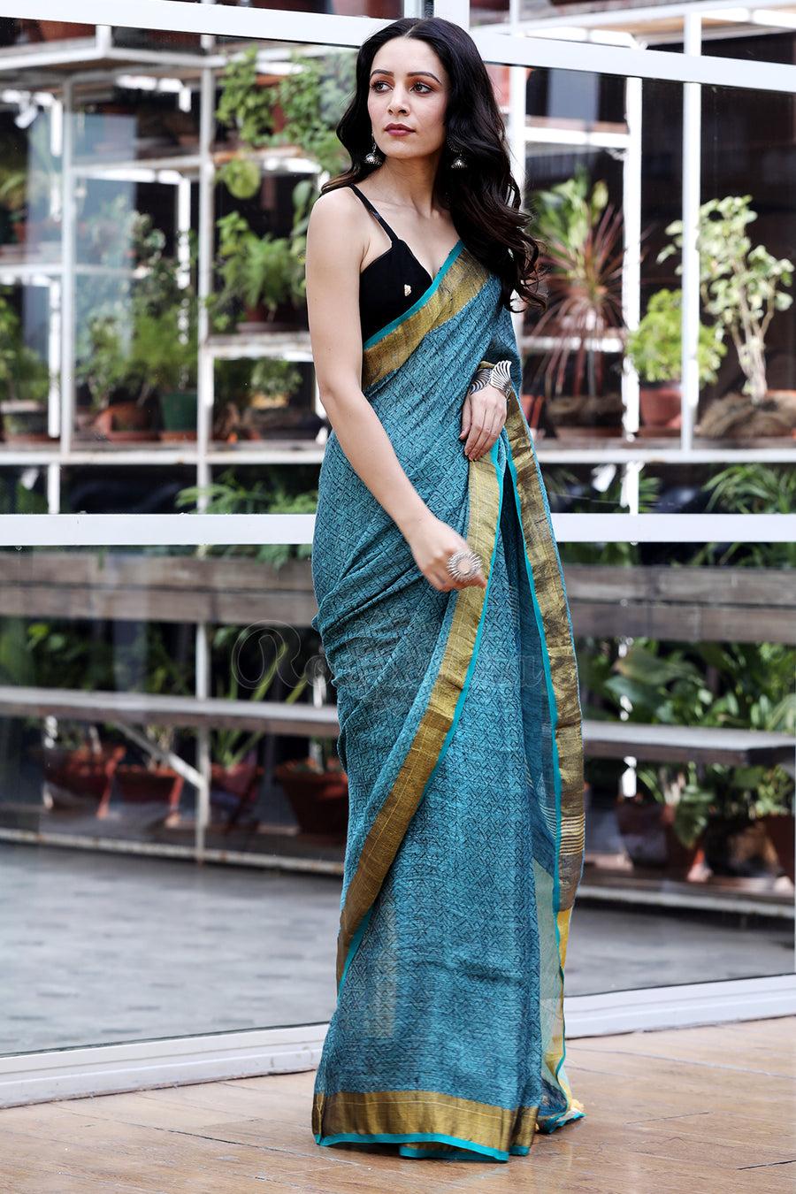 Turkish Blue Textured Linen Saree with Zari Weave Pallu