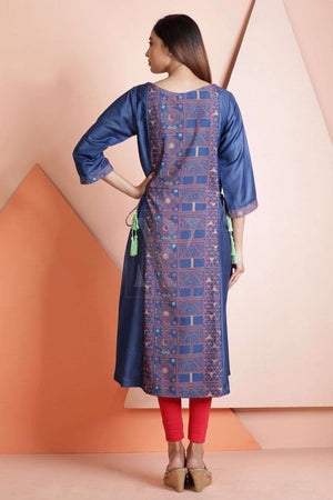 Printed Polyester Tunic With Tussel