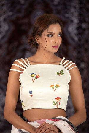 White Coloured Cotton Blouse Blouse Roopkatha - A Story of Art