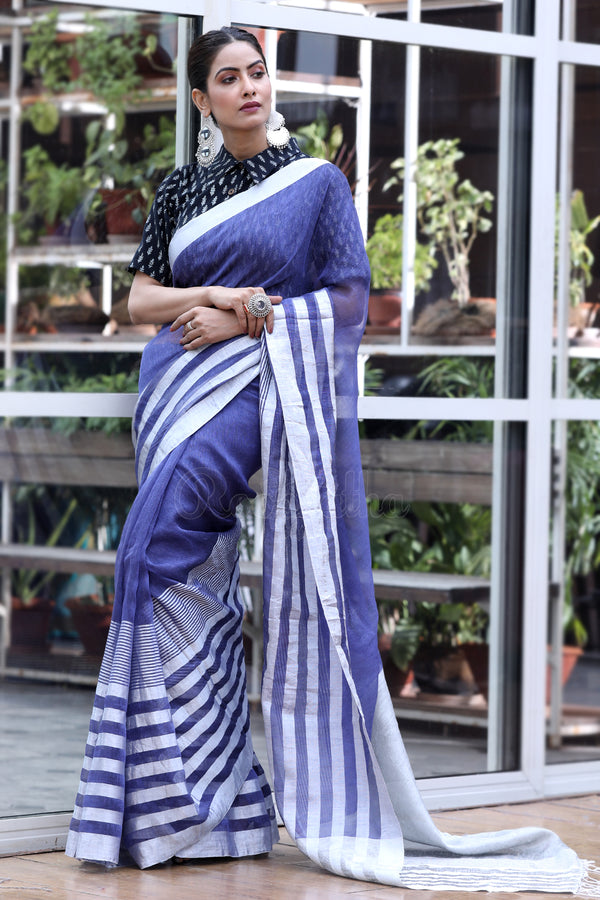 Faded Cobalt Blue Mixed Linen Saree With Silver Zari Stripes