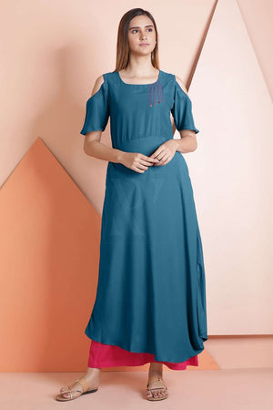 Teal Blue Cold Shoulder Midi