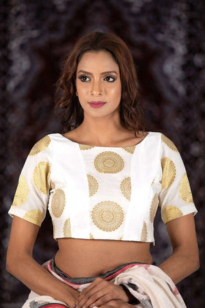 White Half Sleeve Brocade Blouse Blouse Roopkatha - A Story of Art