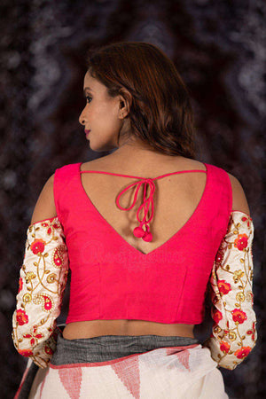 Cream And Pink Cold Shoulder Blouse Blouse Roopkatha - A Story of Art