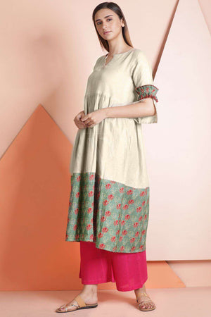 Beige Printed Linen Dress