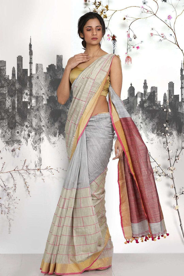 Grey Half & Half Blended Matka Saree With Checkered Design