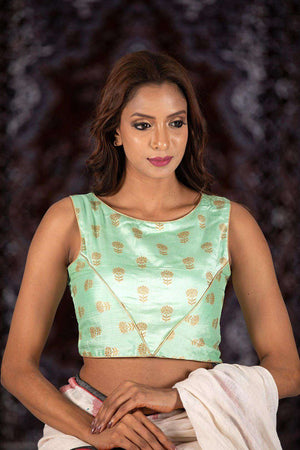 Green Sleeveless Silk Blouse With Floral Design Blouse Roopkatha - A Story of Art