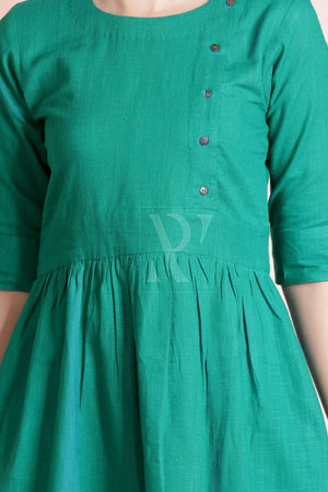 Green Linen Tunic With Elbow Sleeves Rivka Roopkatha - A Story of Art