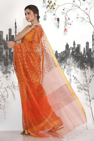 Orange Matka Silk Saree With Zari